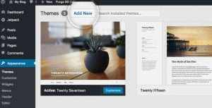 Choose and upload a WordPress theme for a food site